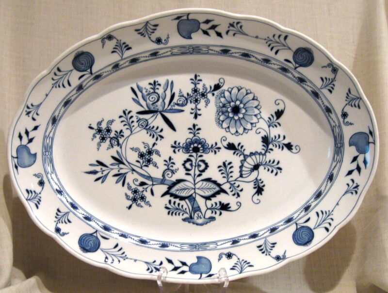 "Meissen Blue Onion 20 1/4"" Serving Platter Crossed Swords Second Quality"