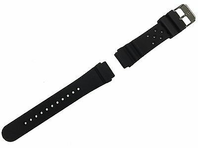 SARTEGO Silicone Rubber Diver's Black Watch Band Strap Silver Tone Buckle 20mm