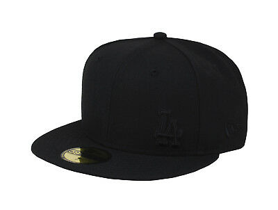 New Era 59Fifty Hat Mens MLB Los Angeles Dodgers Black Flawless Fitted 5950 Cap
