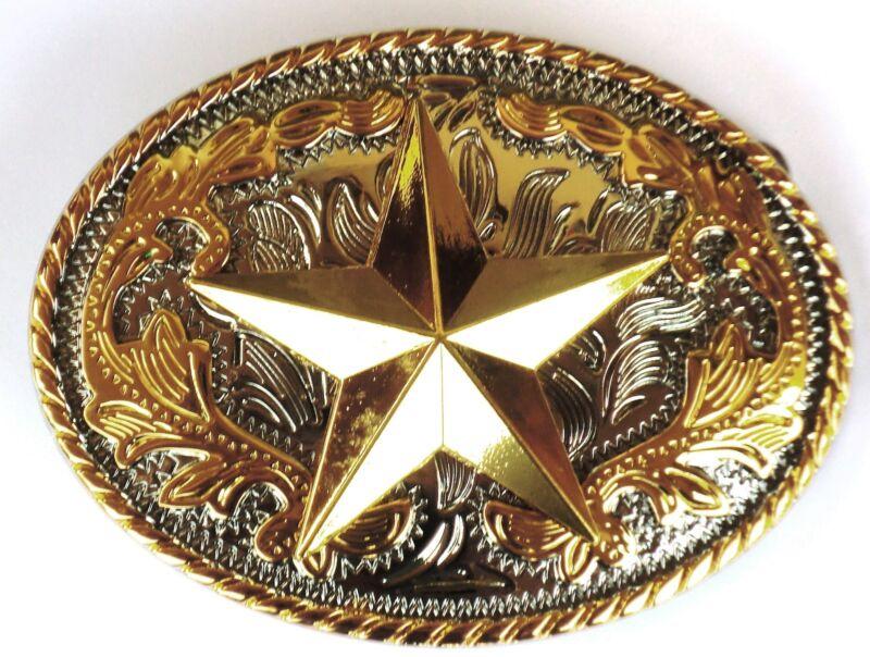NEW STAR TEXAS  RODEO COWBOY  SHINE GOLD SILVER WESTERN BELT BUCKLE
