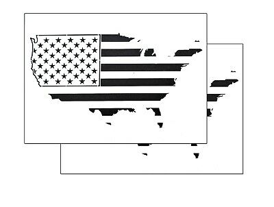 2 PACK Spray Airbrush Painting Stencils American MAP US Flag LARGE 10x14