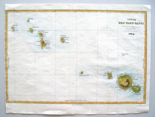 """ANTIQUE MAP OF TAHITI: """"CARTE DES ISLES TAITI"""": DUMONT D"""