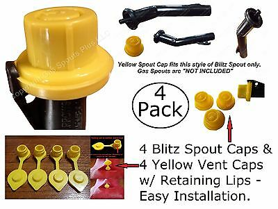 8pcs Total New Combo Pk 4 Blitz Yellow Spout Caps 4 Yellow Gas Can Vent Caps