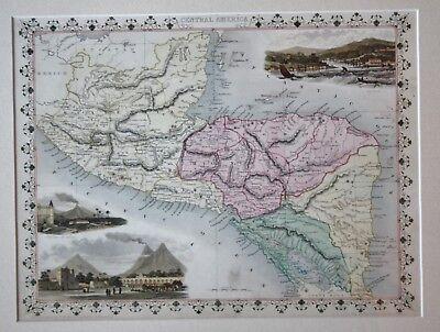 Original antique map of CENTRAL AMERICA Honduras Nicaragua Rapkin & Tallis 1851