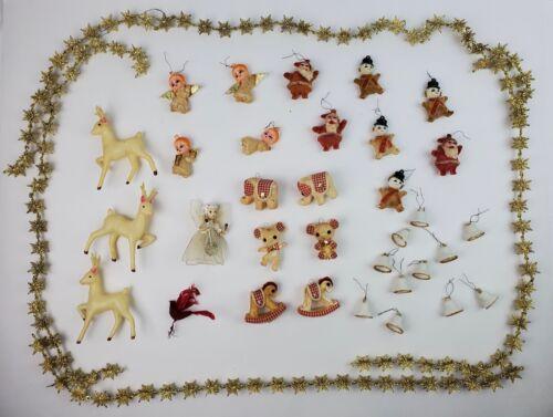 Vintage Celluloid Christmas Ornaments Santa Angels Snowman Snowflake Garland