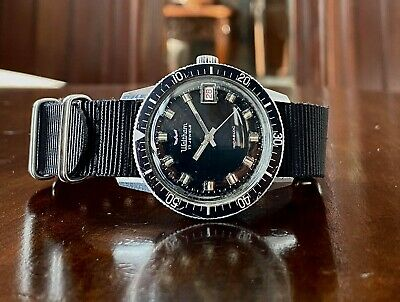 Vintage 1960s/70s Waltham B271 Divers watch, AS 1803, black dial, stainless case