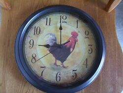 Rooster Chicken 11 Wall Clock Country Farmhouse Tested Works Great !