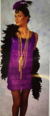ADULT FLAPPER COSTUME ROARING 20'S GANGSTER ERA - BLACK FRINGE DRESS ONLY-LARGE](20s Era Dresses)