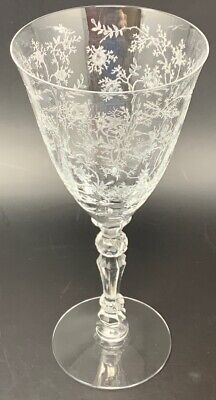 Vintage Fostoria Chintz Floral Etched Crystal Glass Wine/Water Goblet 20-686