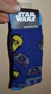 Star Wars R2d2 C3po Droid Socks Officially Licensed Mens Crew Shoe Size 6 12