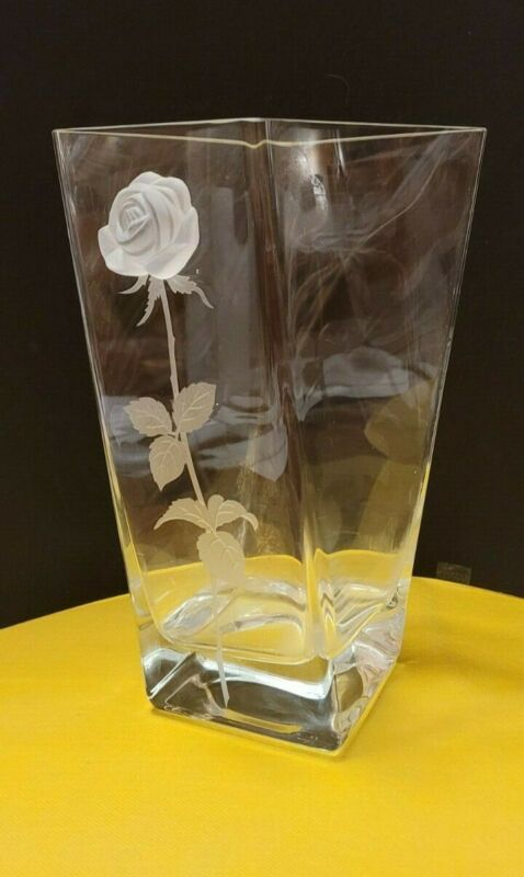 Glass vase with bas relief rose atop etched stem. Square base with diamond top