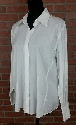 Talbots Haberdashery Wrinkle Resistant  White Blouse Long Sleeve Size 16 Nwt