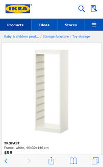 IKEA trofast kids storage frame and pink boxes