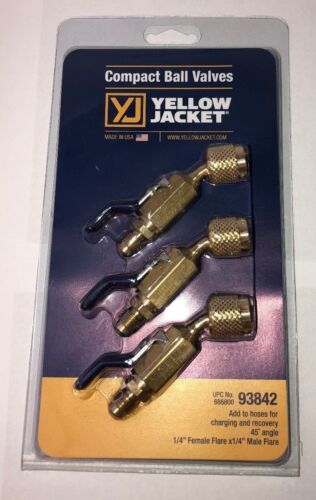 "Yellow Jacket 93842 1/4"" Compact Ball Valve 45° 3 Pack"