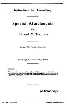 Ih Farmall Optional Special Attachments Manual H Hv M Md Mv Steel Wheels Booklet