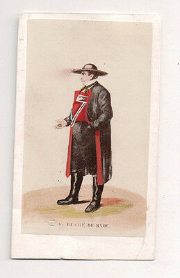 National Costume Of Germany (Vintage CDV Handpainted Duchy of Baden Germany Traditional National Costume )