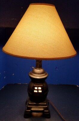 "Vintage Black Ceramic Pot Belly Stove Table 3-Way Table/Desk Lamp/Light 24"""
