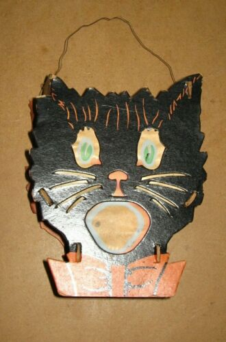 Vintage Halloween Cardboard TWO FACED Double sided Black Cat Lantern all orig.