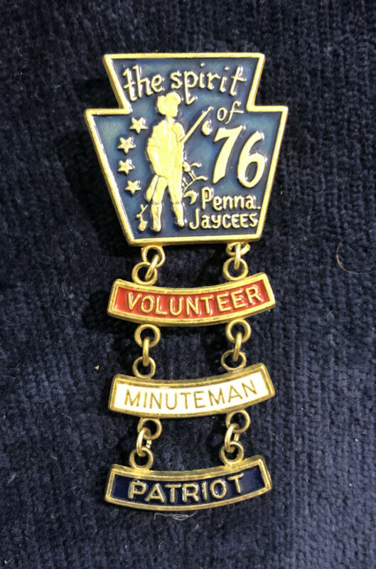1976 Jaycees Pennsylvania Spirit Of '76 Enamel Pin / Badge Rare