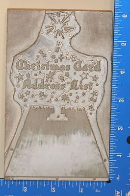 Vintage Letterpress Wood Printing Block Stamp Christmas Card Address List
