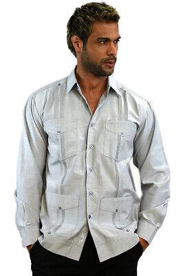 - Mens Bohio Cotton Gray Cuban Guayabera Classic 4-Pkt  Shirt (S ~2X)- MTCG1511