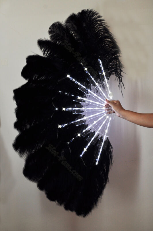 "Black Glittery LED Shine Bushy Double Ostrich Feather Fans Burlesque 28""x 53"""