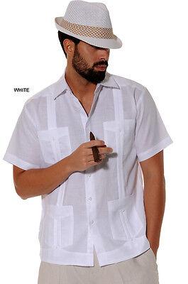- Mens Bohio 100% Linen White Cuban Classic Guayabera 4-Pocket Shirt (S~2XL)-LS499