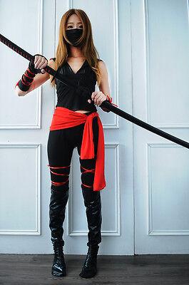 Sexy Deadly Ninja Women Red Black V-Neck Halloween Hoodie Costume Cosplay New
