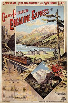 Engadine Express Calais Interlaken Wagons Lits Maloja Eisenbahn Plakate A2 251