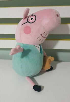 TY DADDY PIG 2011 PLUSH TOY GREEN SHIRT HOLDING BAG 30CM TALL