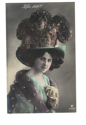MB8896 VICTORIAN HAT FASHION 1909 BIG FEATHER HAT MODE REAL PHOTOCARD