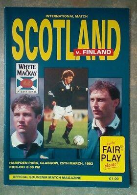 Scotland v Finland Friendly 1992 Football Matchday Programme