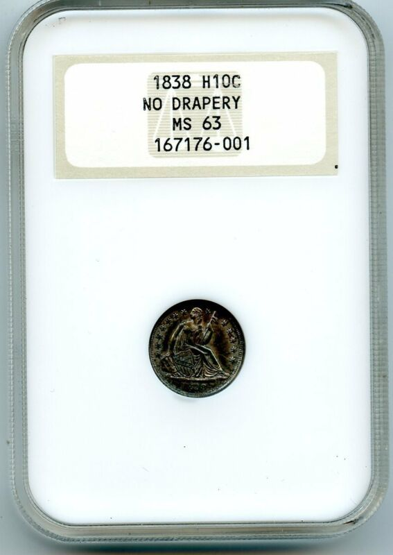 C12951- 1838 NO DRAPERY SEATED LIBERTY HALF DIME NGC MS63 OLD FATTY HOLDER
