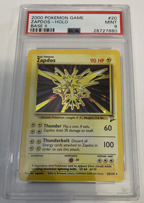 PSA 9 MINT ZAPDOS HOLO Pokemon Base Set 2 20/130