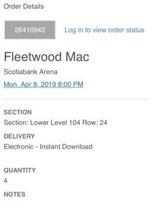 4 fleetwood mac tickets - Lower bowl 104 $750 paid $900