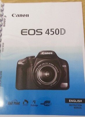 CANON  EOS 450D FULL USER MANUAL GUIDE INSTRUCTIONS  PRINTED A5 196 (Canon Eos 450d Manual)