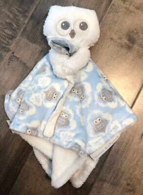 Blankets and Beyond Blue Owl Baby Security Blanket Lovey Blue & White Soft