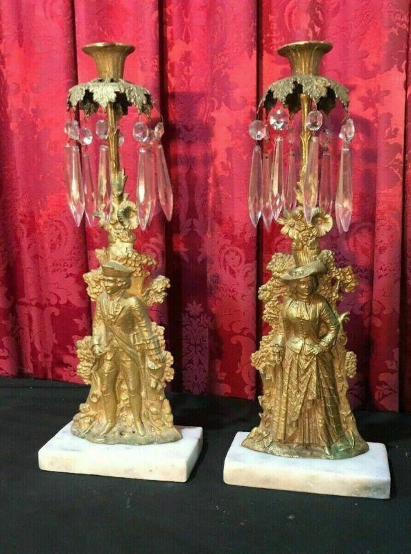 PAIR OF VINTAGE ANTIQUE VICTORIAN GIRANDOLE CANDELABRA MADAME & GENT W/ PRISMS