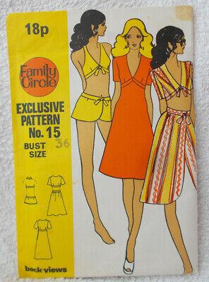 Vintage Family Circle #15 Ladies Sewing Pattern Dress Top & Bikini Bust...