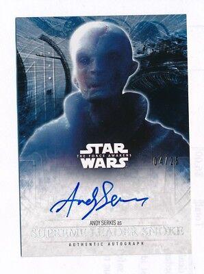 Topps Star Wars The Last Jedi Force Awakens Auto Autograph ANDY SERKIS SNOKE /25