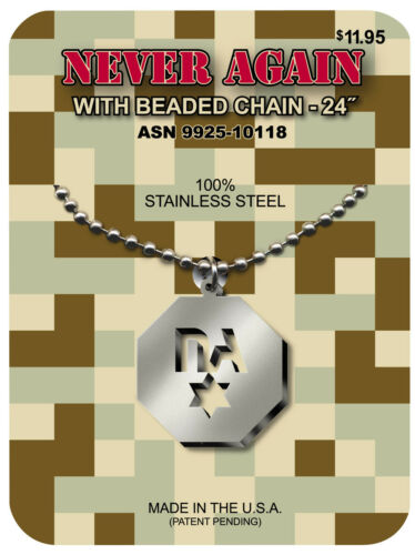 "G.I. JEWELRY Official US Military NEVER AGAIN Necklace Star of David 24"" Chain"