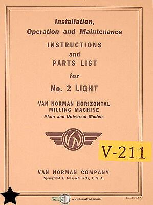 Van Norman No. 2 Light Mill Install Operations Maintenance Manual