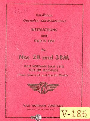 Van Norman 28 And 38m Milling Machine Installation Operate Maintenance Manual