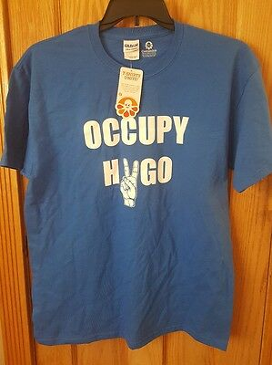 Customink Blue Gildan Large Cotton T Shirt Occupy Hv  Peace  Go  New  With Tags