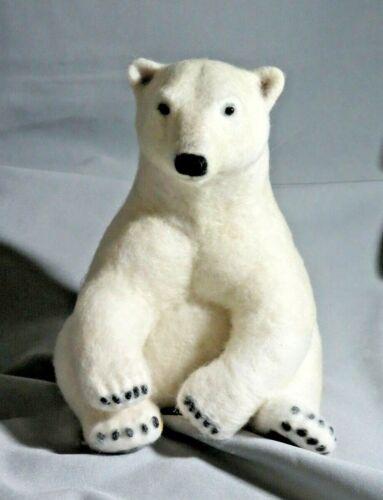 Needle Felted Wool Sculpture Polar Bear Sitting Down
