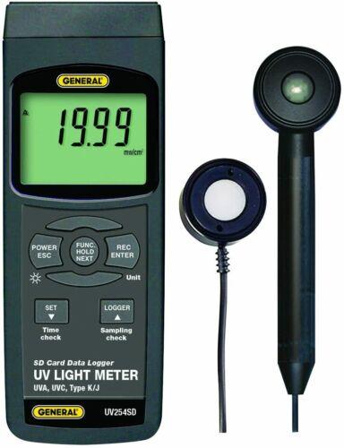 General Tools UV254SD UVA-UVC Light Meter with SD Card, K/J TC Port