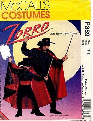Zorro Kostüme Muster (Mccall's Kinder Zorro Kostüm Kostüm Muster P389/8872 Size 7-8 Uncut)