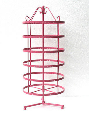288 Holes Pink Rotating Earrings Jewelry Display Stand Rack Holder