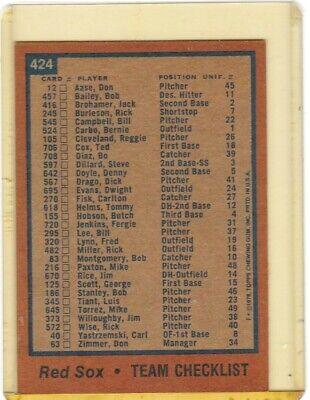 1978 BOSTON RED SOX TOPPS 424 BASEBALL TEAM CHECKLIST NO RESERVE IF U BID U OWN - $0.99