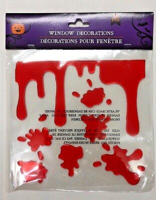 Halloween dripping blood Gel Stickers window Clings Party Decor Teacher supply](Dripping Blood)